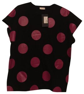 Saint Laurent T Shirt black with hot pink dots