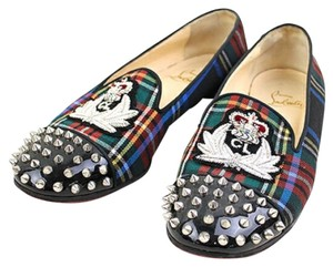 Christian Louboutin My Love Silver Hardware Spike Intern Embroidered Multicolor Flats