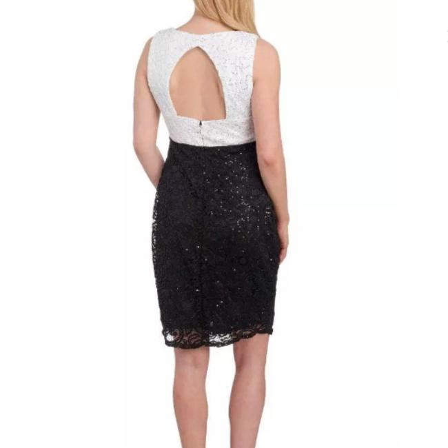 Marina Black / White And Sequin and Lace Sheath Short Night Out Dress Size 16 (XL, Plus 0x) Marina Black / White And Sequin and Lace Sheath Short Night Out Dress Size 16 (XL, Plus 0x) Image 2