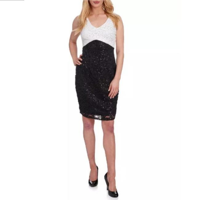 Marina Black / White And Sequin and Lace Sheath Short Night Out Dress Size 16 (XL, Plus 0x) Marina Black / White And Sequin and Lace Sheath Short Night Out Dress Size 16 (XL, Plus 0x) Image 3