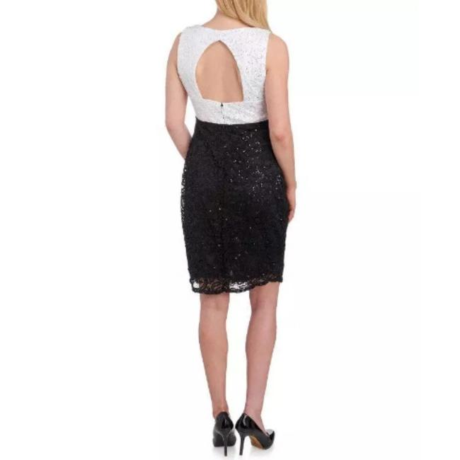 Marina Black / White And Sequin and Lace Sheath Short Night Out Dress Size 16 (XL, Plus 0x) Marina Black / White And Sequin and Lace Sheath Short Night Out Dress Size 16 (XL, Plus 0x) Image 4