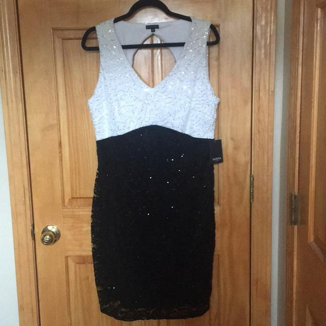 Marina Black / White And Sequin and Lace Sheath Short Night Out Dress Size 16 (XL, Plus 0x) Marina Black / White And Sequin and Lace Sheath Short Night Out Dress Size 16 (XL, Plus 0x) Image 5