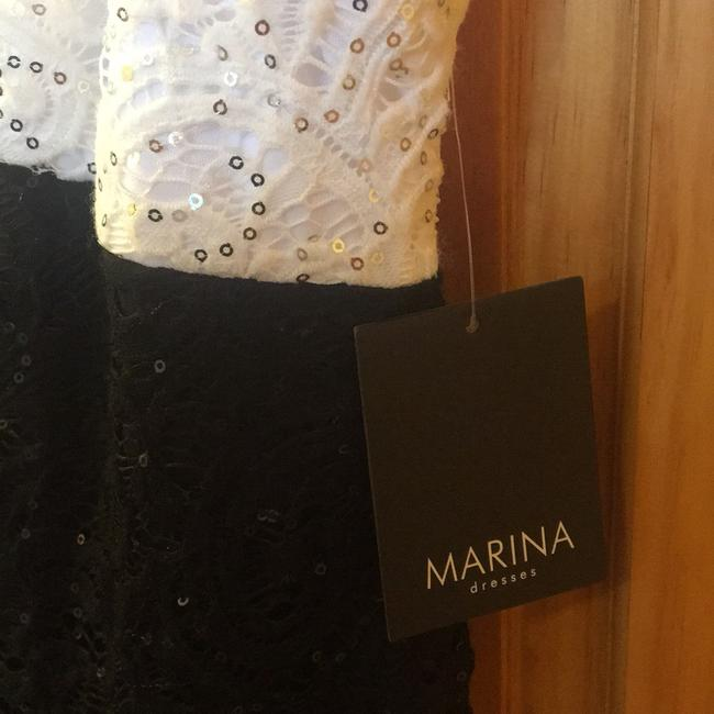 Marina Black / White And Sequin and Lace Sheath Short Night Out Dress Size 16 (XL, Plus 0x) Marina Black / White And Sequin and Lace Sheath Short Night Out Dress Size 16 (XL, Plus 0x) Image 8