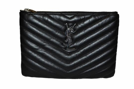 Saint Laurent Yves Ysl Small Chevron Quilted Zip Top Pouch