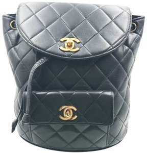 31e71611518619 Chanel Vintage Classic Double Turnlock Black Lambskin Backpack