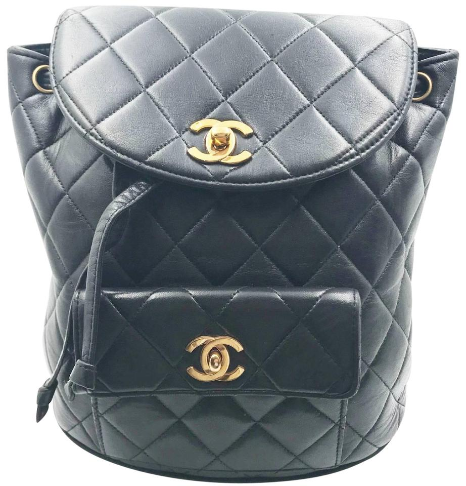 b8985d3658fa Chanel Backpack Vintage Classic Double Turnlock Black Lambskin ...