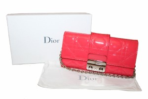Dior Christian Dior Coral Pink Patent Cannage Miss Dior Rendezvous Wallet