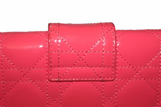 Dior Christian Dior Coral Pink Patent Cannage Miss Dior Rendezvous Wallet Image 1