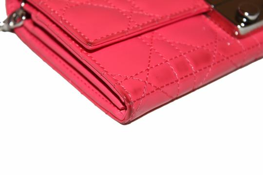 Dior Christian Dior Coral Pink Patent Cannage Miss Dior Rendezvous Wallet Image 8