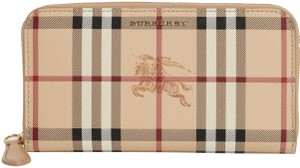 Burberry NWT BURBERRY HAYMARKET CHECK CANVAS AND LEATHER ZIP AROUND WALLET