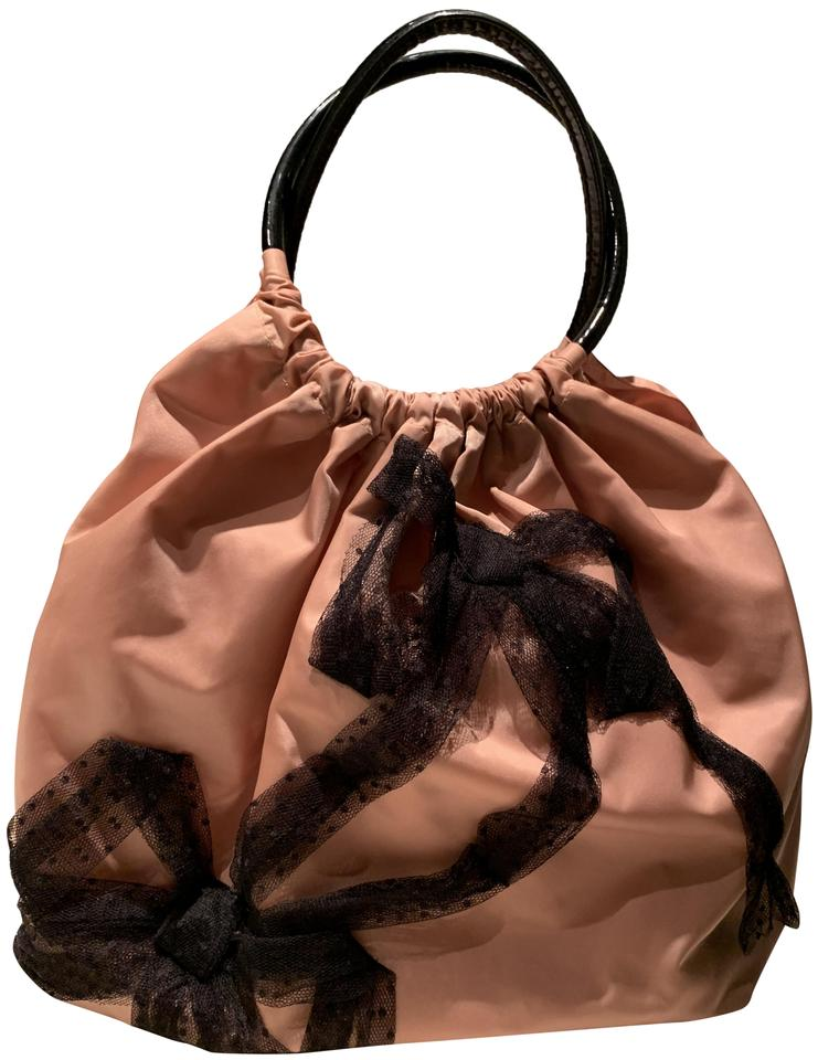 0bad6d3b07 RED Valentino Handbag Blush Pink Satin with Lace Bows Patent Leather ...