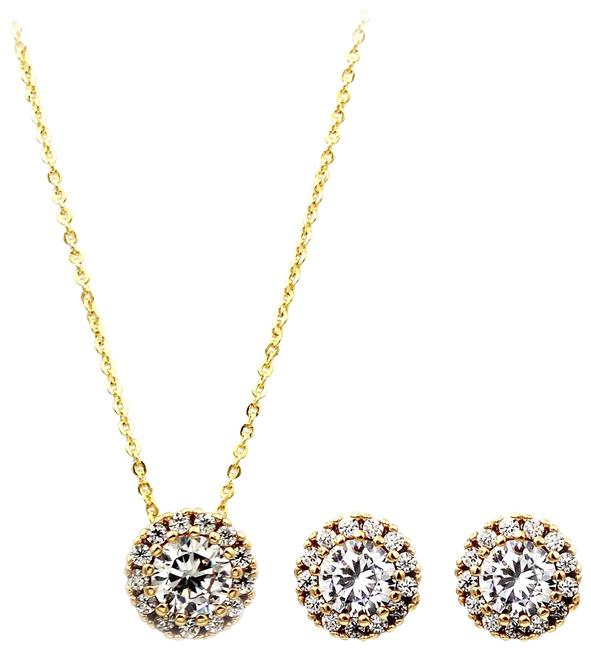 Ocean Fashion White Gold Crystal Earrings Necklace Ocean Fashion White Gold Crystal Earrings Necklace Image 1