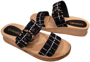 Chanel Tweed Jeweled Sandals Platform Cruise Collection Black Mules