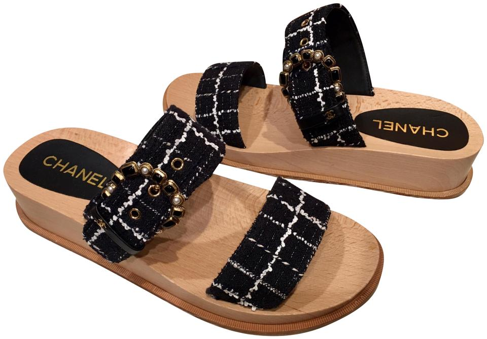 08456ab278d2 Chanel Tweed Jeweled Sandals Platform Cruise Collection Black Mules Image 0  ...