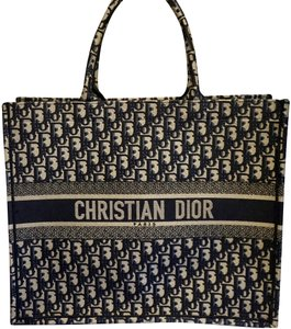 Dior Monogram Embroidered Tote in Navy Black b46994e51a412