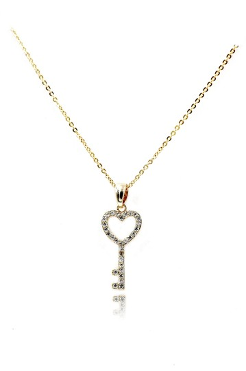 Preload https://img-static.tradesy.com/item/24949357/gold-simple-heart-key-crystal-necklace-0-0-540-540.jpg