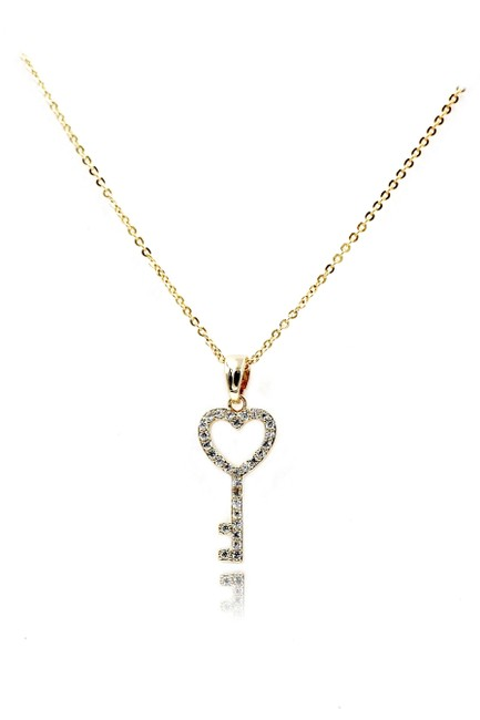 Ocean Fashion Gold 925 Simple Heart Key Crystal Necklace Ocean Fashion Gold 925 Simple Heart Key Crystal Necklace Image 1