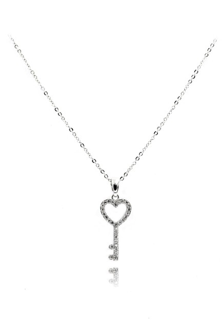 Ocean Fashion Silver Simple Heart Key Crystal Necklace Ocean Fashion Silver Simple Heart Key Crystal Necklace Image 1