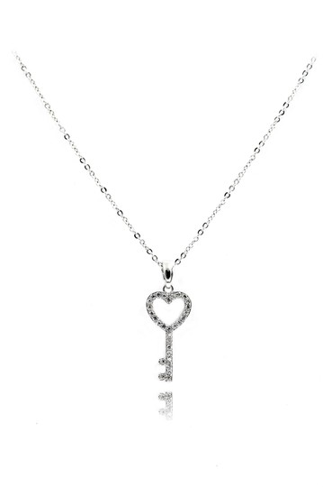 Preload https://img-static.tradesy.com/item/24949387/silver-sterling-simple-heart-key-crystal-necklace-0-0-540-540.jpg