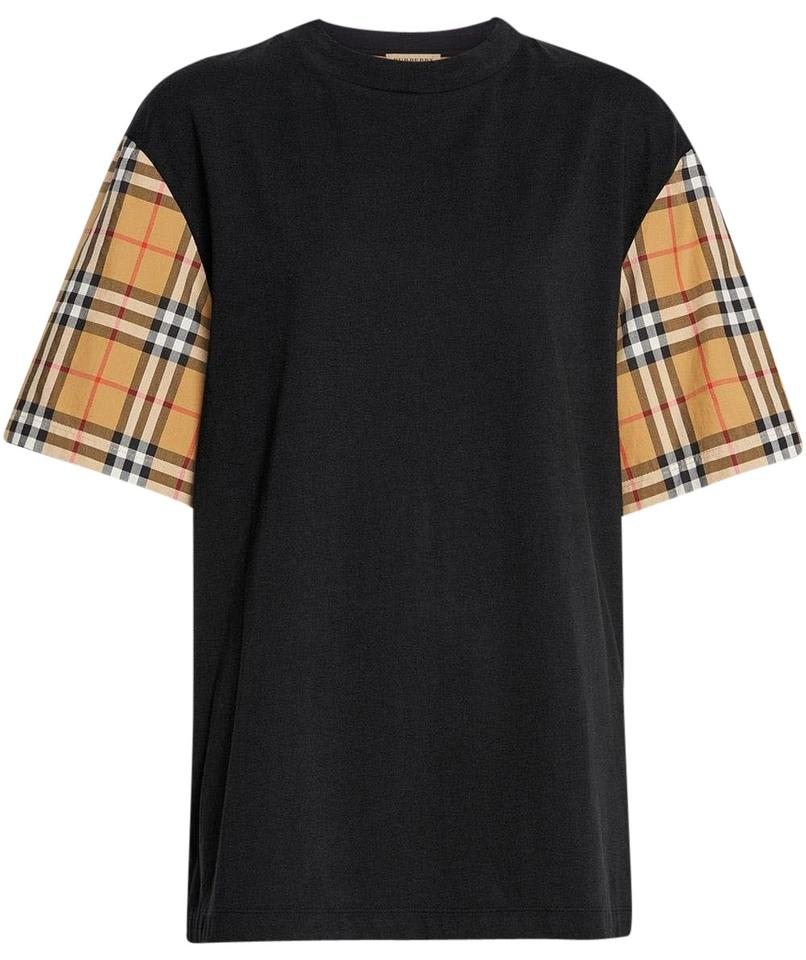 6b764bea Burberry Multicolor Black Vintage Check-sleeve Cotton Oversized T-shirt Tee  Shirt