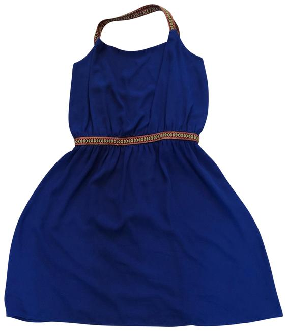 Item - Royal Blue Halter Stitched Braided Mid-length Cocktail Dress Size 12 (L)