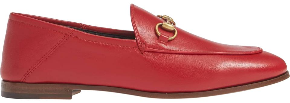 b61816c9d19 Gucci Red Horsebit Brixton Convertible Leather Loafers Flats Size US ...
