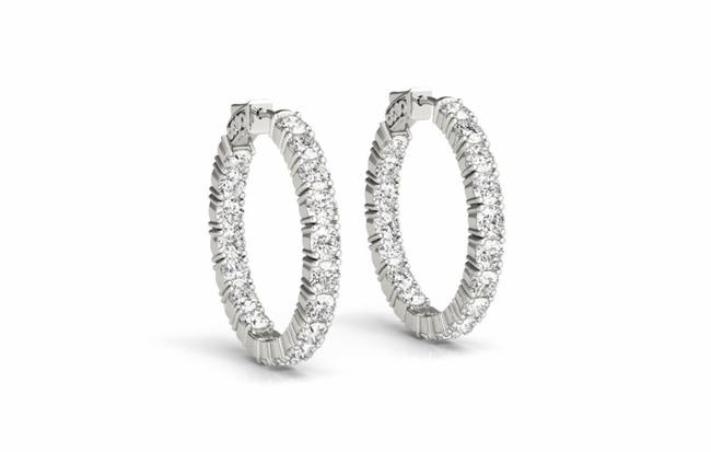 White Gold 3.40 Carat Total Weight Round Diamond 4 Prong Inside Out 21mm Hoop Earrings White Gold 3.40 Carat Total Weight Round Diamond 4 Prong Inside Out 21mm Hoop Earrings Image 1