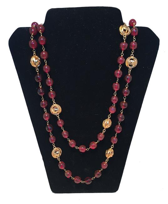 Chanel Red Dark and Gold Cc Beaded Long Necklace Chanel Red Dark and Gold Cc Beaded Long Necklace Image 1