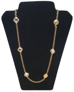 Chanel Chanel Vintage Gold Chain Link Long Necklace with Square Crystal Beads