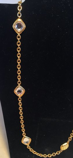 Chanel Chanel Vintage Gold Chain Link Long Necklace with Square Crystal Beads Image 5