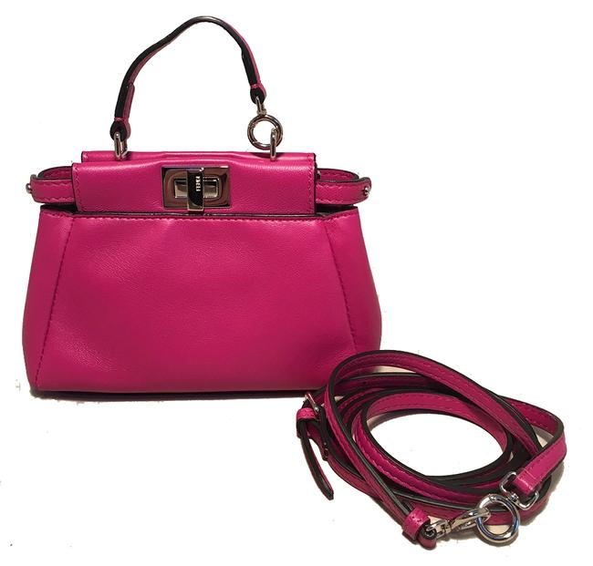 Item - Micro Mini Fuchsia Peekaboo with Shoulder Strap Pink Leather Baguette