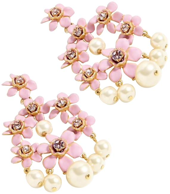 J.Crew Pearl and Crystal Floral Chandelier Earrings J.Crew Pearl and Crystal Floral Chandelier Earrings Image 1
