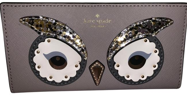 Kate Spade New York Star Bright Owl Stacy Women's Wallet Card Id Holder Tan Leather Clutch Kate Spade New York Star Bright Owl Stacy Women's Wallet Card Id Holder Tan Leather Clutch Image 1