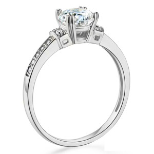 Top Gold & Diamond Jewelry Basket-Style 1-CT Round-Cut CZ Engagement Ring in 14K White Gold