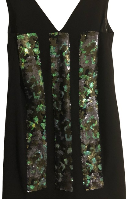 Item - Black Multi with Green Blue and Gun Metal Sequins Short Cocktail Dress Size 14 (L)