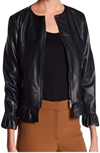 Catherine Malandrino Asymmetric Zip Faux Zip Cuffs Quilted Stitch Moto/Military Style Navy Leather Jacket