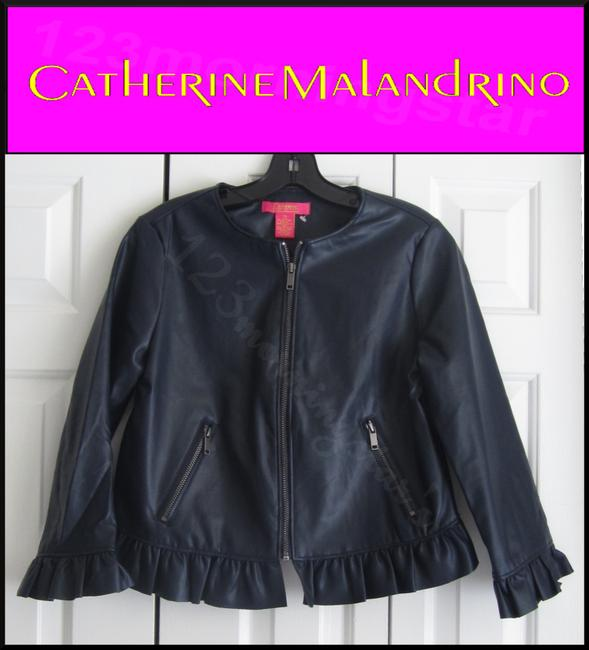 Catherine Malandrino Asymmetric Zip Faux Zip Cuffs Quilted Stitch Moto/Military Style Navy Leather Jacket Image 1