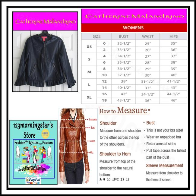 Catherine Malandrino Asymmetric Zip Faux Zip Cuffs Quilted Stitch Moto/Military Style Navy Leather Jacket Image 11