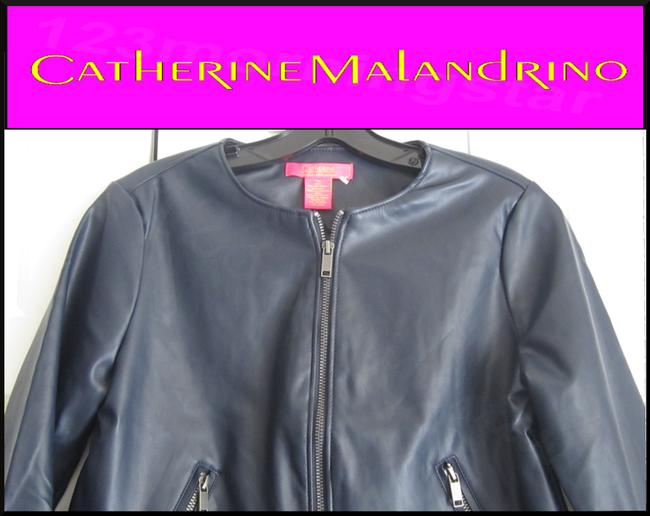 Catherine Malandrino Asymmetric Zip Faux Zip Cuffs Quilted Stitch Moto/Military Style Navy Leather Jacket Image 2