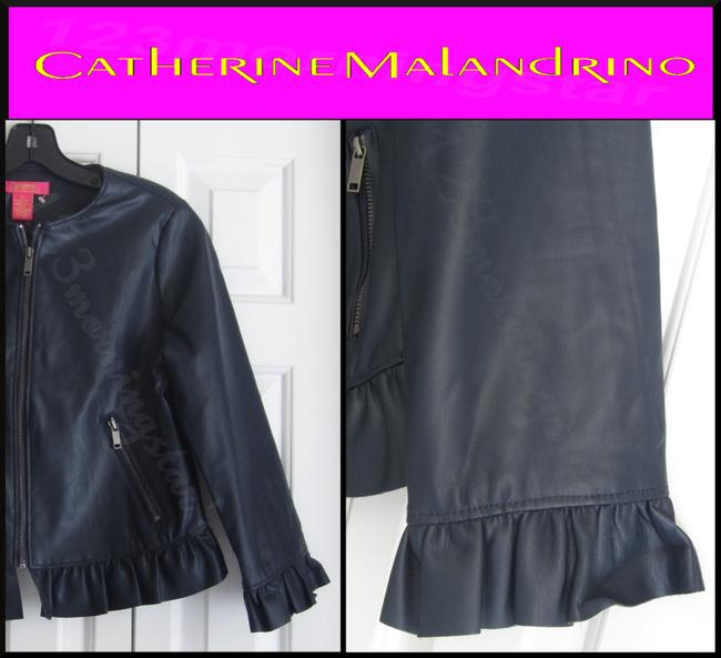 Catherine Malandrino Asymmetric Zip Faux Zip Cuffs Quilted Stitch Moto/Military Style Navy Leather Jacket Image 3
