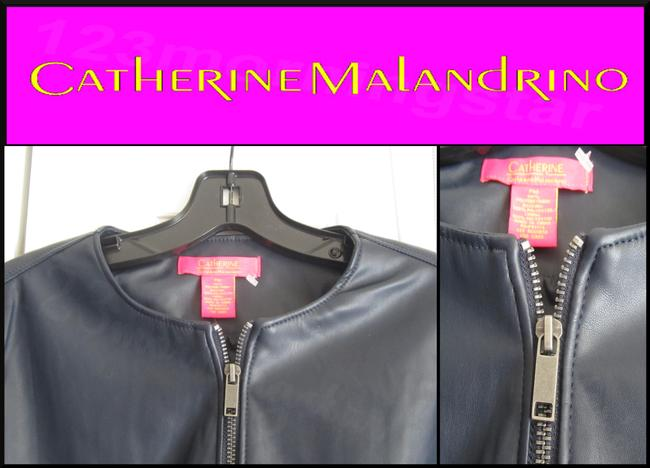 Catherine Malandrino Asymmetric Zip Faux Zip Cuffs Quilted Stitch Moto/Military Style Navy Leather Jacket Image 4