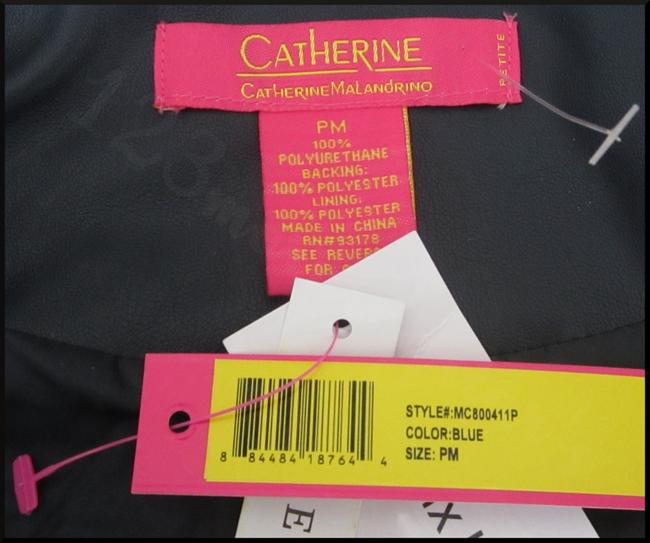 Catherine Malandrino Asymmetric Zip Faux Zip Cuffs Quilted Stitch Moto/Military Style Navy Leather Jacket Image 5