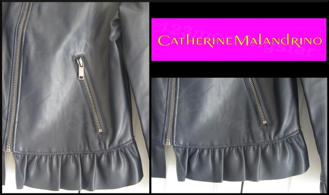 Catherine Malandrino Asymmetric Zip Faux Zip Cuffs Quilted Stitch Moto/Military Style Navy Leather Jacket Image 6