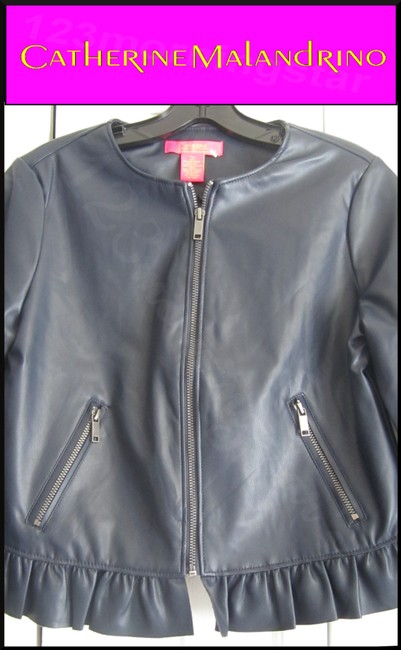 Catherine Malandrino Asymmetric Zip Faux Zip Cuffs Quilted Stitch Moto/Military Style Navy Leather Jacket Image 7