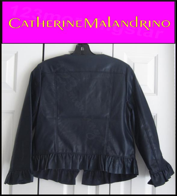 Catherine Malandrino Asymmetric Zip Faux Zip Cuffs Quilted Stitch Moto/Military Style Navy Leather Jacket Image 8