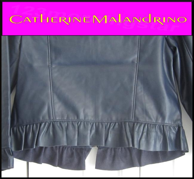 Catherine Malandrino Asymmetric Zip Faux Zip Cuffs Quilted Stitch Moto/Military Style Navy Leather Jacket Image 9