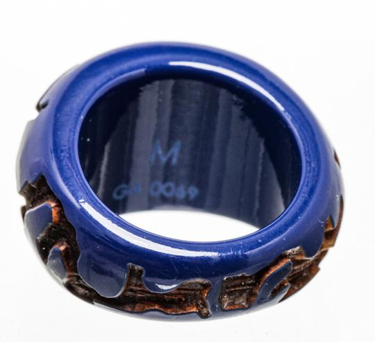Louis Vuitton Louis Vuitton Blue Resin with Wood Inlay Ring (Size 5.5) 488677 Image 3