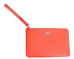 Coach COACH Corner Zip Wristlet in Crossgrain Leather RARE Bright Orange!