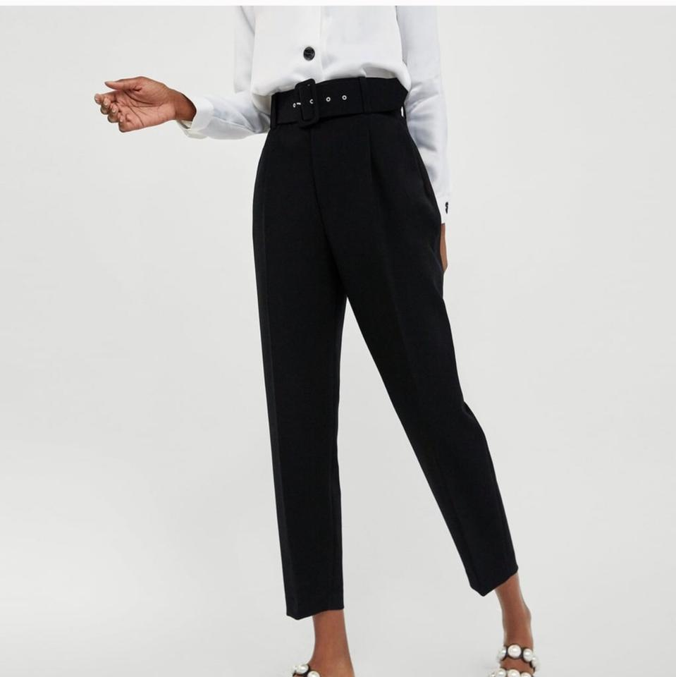 b4aefd2c Zara Black Favorite High Waisted Statement Belted Bloggers Trouser/Wide Leg  Jeans Size 2 (XS, 26)