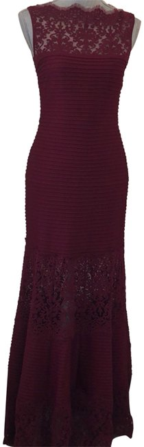 Item - Wine Lace Illusion Pintucked Long Formal Dress Size 6 (S)